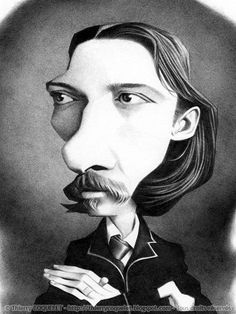 Robert Louis Stevenson - The parallel utopias - Thierry Coquelet, Angers, France Caricature Art, Robert Louis Stevenson, Celebrity Caricatures, Famous Words, Classroom Inspiration, Portraits, Book Authors, Cartoon Styles, Funny Faces