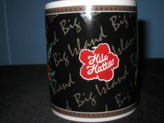 HILO HATTIE Big Island  Coffee Cup Mug The Store of Hawaii Black 2002 Volcanoess