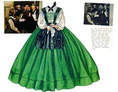 Melanie's sewing circle dress.  The artist notes that the colors don't match those in the movie.