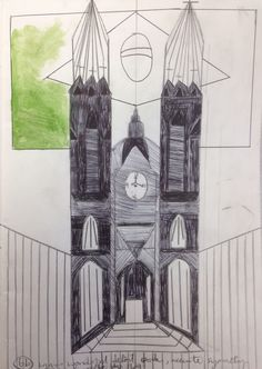 Callum, combining a biro drawing of a building with the National flag for The Multicultural Project. At Marys Catholic High School