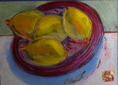 Le bol de citrons Acrylics and pastels
