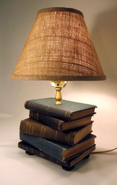 Book Lamp Antique Upcycled Books Burlap Lamp Shade by FirstandFig