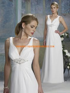 Robe de mariée glamour mousseline sans traîne