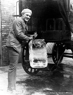 The Ice Delivery Man. Yes, the ice man delivered ice for our small refrigerators to keep food cold. Vintage Pictures, Old Pictures, Old Photos, The Iceman, Delivery Man, Thing 1, Interesting History, The Good Old Days, Vintage Photographs