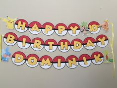 POKEMON Birthday Party Banner Sign