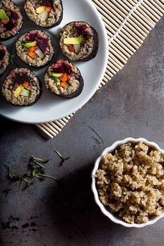 Vegan Green Spelt Sushi is a delicious alternative to ordinary rice sushi. This version contains beetroot and avocado amon other tasty things