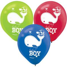 Fill your baby shower room with an adorable whale and her turtle friend featured on our helium quality Ahoy Baby Boy Latex Balloons!  You receive a package of 15 latex balloons:  5 each of lime green, blue and red colors.  Every balloon features white print and a �Baby Boy� announcement.  Latex balloons arrive flat and measure approximately 12� when filled.  15 balloons per package.  Matches the Ahoy Baby Boy baby shower theme.