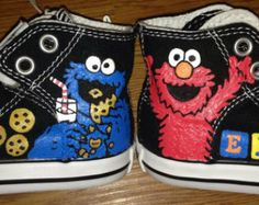 Cookie Monster & Elmo Hand Painted Shoes