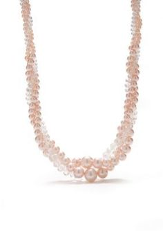 Kim Rogers  Pink Pearl and Faceted Clear Bead Twist Necklace
