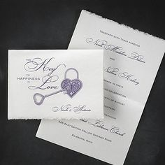 Key to Happiness - Invitations for wedding ideal for any season A heart-shaped key and lock beautifully reflect the statement made on the front of this invitation.