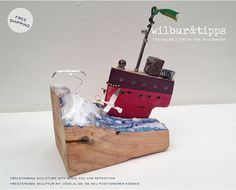 Hello, Im Tippy Brown co-founder of Wilbur&Tipps. Our deep sea boat sculpture is made from tidal driftwood collected on our walks near to the mouth of our river. The waves are a mixture of our homemade paints and a polymer sealant that we discovered on the riverbanks in the industrial