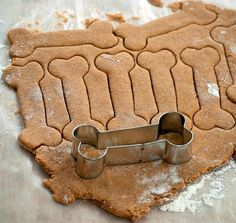 Woofies (dog treats):    2 1/2 cups whole wheat flour  2 eggs  1 cup canned pumpkin  2 tablespoons peanut butter  1/2 teaspoon salt  3/4 teaspoon ground cinnamon