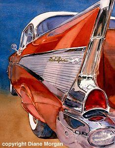 Car Culture -- Diane Morgan and Ron Morrison Chevrolet 1957, Art Watercolor, Diane, Automotive Art, Automotive Group, Automotive Industry, Car Drawings, Car Painting, Fine Art