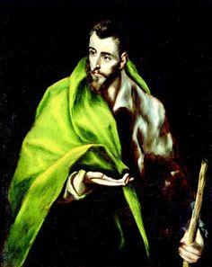 El Greco, St James ( San Santiago el Mayor ) El Apóstol que, según la tradición hispana fue enterrado en Santiago de Compostela, suele representarse con conchas, cayado y sombrero. Sin embargo en la pieza del museo porta un pequeño bastón, un símbolo no demasiado evidente del peregrino.