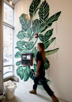 THE WALL Leaves mural Treat yourself and your windows. Wall Painting Decor, Plant Painting, Mural Wall Art, Wall Decor, Deco Cool, Bedroom Murals, Plant Illustration, Graffiti, Street Art