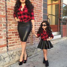 Mini and me plaid leather divas