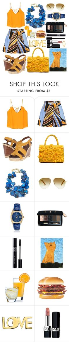 """Canary Yellow & Blue"" by pulseofthematter ❤ liked on Polyvore featuring MANGO, Emilio Pucci, Cole Haan, NEST Jewelry, Victoria Beckham, Christian Dior, NOVICA, Luminarc, H&M and Elizabeth and James"