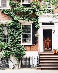 Ivy-covered brick home exterior with white window trim and classic black shutters.