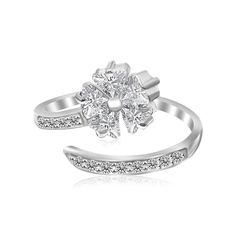Sterling Silver Rhodium Finished Floral Motif Cubic Zirconia Toe Ring
