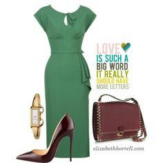 A fashion look from September 2013 featuring green dress, Christian Louboutin and red handbags. Browse and shop related looks. Diva Fashion, Work Fashion, Fashion Outfits, Womens Fashion, Dress Fashion, Classy Outfits, Stylish Outfits, Style Feminin, Professional Outfits