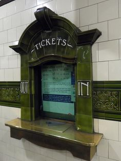 Tiled tickets windows at Edgware Rd tube station in London