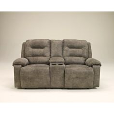 Rotation Fabric Power Reclining Loveseat with Console