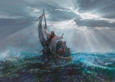 picture of jesus christ calming the storm from the boat with his diciples Peace Pictures, Bible Pictures, Images Of Christ, Pictures Of Jesus Christ, Lds Art, Bible Art, Jesus Calms The Storm, Image Jesus, Christian Artwork
