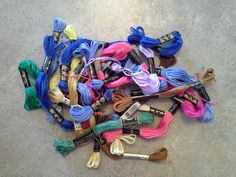 Every time I see embroidery floss for cheap at yard sales, I pick it up. I use this stuff for so many things (none of which include actual embroidery). $1 for the pile.