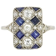 French Art Deco Sapphire and Diamond Dinner Ring, circa 1930s For Sale