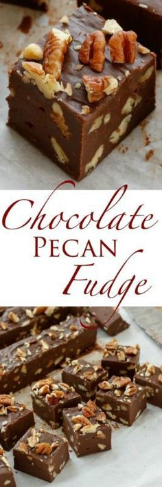 Five Minute Fudge Recipe! Minute} Chocolate Pecan Fudge is smooth and creamy rich chocolate fudge generously filled with pecans. This fudge is perfect for gifting, snacking, and serving for any occasion! Traditionally, old-fashioned. Candy Recipes, Sweet Recipes, Cookie Recipes, Brownie Recipes, Holiday Baking, Christmas Baking, Christmas Fudge, Christmas Recipes, Dessert Dips