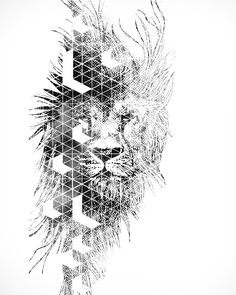 48 Ideas For Tattoo Lion Geometric Behance Leo Tattoos, Future Tattoos, Body Art Tattoos, Sleeve Tattoos, Tattoos For Guys, Tatou Animal, Tattoos Schulter, Geometric Lion Tattoo, Petit Tattoo