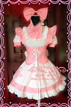 Mother cat ears cat maid outfit maid dress essential Mother Meng COSPLAY ladies pink and white - Taobao