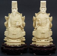 Pair of Chinese hand carved Ivory Emperor and Empress figures.