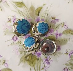 Button Earrings / Blue Rose / Vintage Fabric by ManhattanHippy