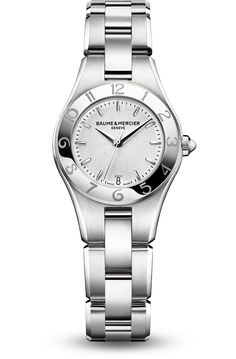 Discover the Linea 10009 Ladies steel and quartz watch, with interchangeable straps, designed by Baume et Mercier, Swiss Watch Maker.