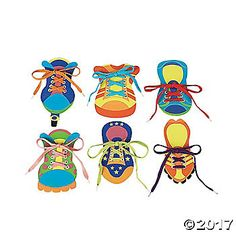 6 Fabulous Foam Tie My Shoes!. Practice lacing and tying skills with these colorful shoes! 6 assorted designs. Includes 6 pairs of 45 laces with plastic tips. ...