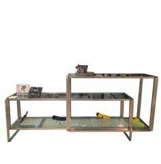 S_LONG Tavolo espositore composto da due moduli con piani in vetro cm. 210x450x91,5h