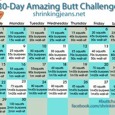 30-Day Amazing Butt Challenge brought to you by @shrinkingjeans Looking to tone and tighten your butt? Join us in the #buttchallenge - an awesome monthly workout calendar! #fitness #exercise #workoutcalendar