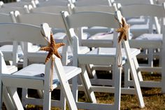 Beach Wedding Decor - Large Starfish Chair or Pew Decoration - 6-8 in Starfish