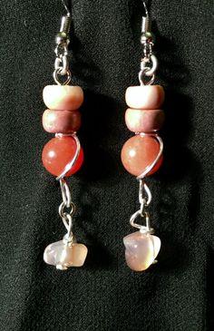 Carnelian and Stone Earrings by BoomChakraLaka on Etsy