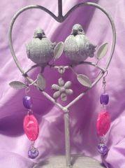 Boucles d'oreilles fait main perles en fimo modèle unique