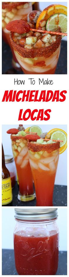 How to Make Micheladas Locas. Mexican Michelada, cinco de mayo drink, summer drink, spicy mexican beer (how to make cocktails alcohol) Mexican Snacks, Mexican Beer, Mexican Drinks, Mexican Dishes, Mexican Food Recipes, Mexican Candy, Drink Summer, Spicy Recipes, Cooking Recipes