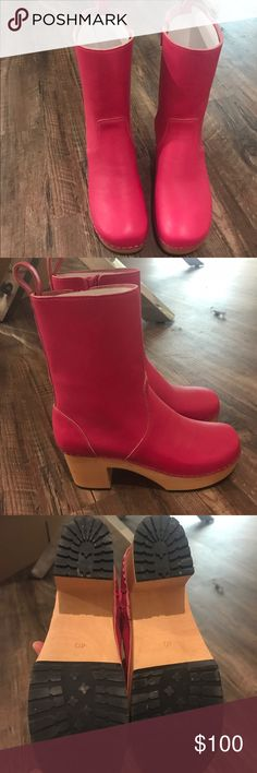 Swedish Hasbeens Swedish Boot- Pink Perfect to add a pop of color to your wardrobe. Focusing on sustainable, fashionable footwear, Swedish Hasbeens crafts their shoes from natural grain leather and both line tree and alder wood Swedish Hasbeens Shoes Mules & Clogs