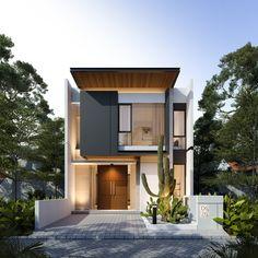 Minimal House Design, Modern Small House Design, Modern Exterior House Designs, Modern Minimalist House, Duplex House Design, Small Modern Home, House Front Design, Exterior Design, Narrow House Designs
