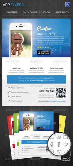 App Flyers  #GraphicRiver         Very clean modern app flyer template that will make your application shine! It features five different colors, so you can choose the one you prefer, or you can easily create your own color scheme for your branding identity. These flyers are perfect to promote your mobile application.     Created: 15August13 GraphicsFilesIncluded: PhotoshopPSD Layered: Yes MinimumAdobeCSVersion: CS4 PrintDimensions: 8.5x11 Tags: ad #advertisement #adverts #android #app…