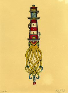Lighthouse I by Kyler Martz, via Flickr    Not sure what I like about this more... the old-school tattoo style or the completely bizarre concept.