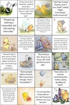Various quotes from The Many Adventures of Winnie the Pooh. Great for or framing and hanging in a or child's playroom. Or just because you are an adult and love Winnie-The-Pooh Winnie The Pooh Quotes, Winnie The Pooh Friends, Disney Winnie The Pooh, Eeyore Quotes, Tao Of Pooh Quotes, A A Milne Quotes, Winnie The Pooh Decor, New Quotes, Life Quotes