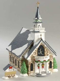 Department 56 Snow Village Holy Spirit Church - With Box Department 56 Christmas Village, Dept 56 Snow Village, 50th Wedding Anniversary, Anniversary Ideas, Christmas Village Collections, Ceramic Houses, Nautical Home, Christmas Villages, Christmas Past