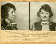 "In 1922, Clara Phillips (aka ""Tiger Girl"") murdered Alberta Meadows, the woman she suspected was a rival for her husband's affections. She struck Meadows repeatedly with a hammer and then rolled a 50 lb. boulder on top of the corpse.  She was sentenced to life in 1923 and was released in 1935.  During her 12 years in prison, she found religion, trained as a dental technician, escaped once and slashed her wrists in a suicide attempt.  In 1938 she moved to Texas and was never heard of again."