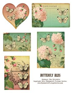 Ephemera's Vintage Garden: Free Printable - Butterfly Ephemera Cards - personal use only. by jimmie Éphémères Vintage, Vintage Labels, Vintage Ephemera, Vintage Crafts, Vintage Paper, Printable Art, Free Printables, Printable Butterfly, Envelopes